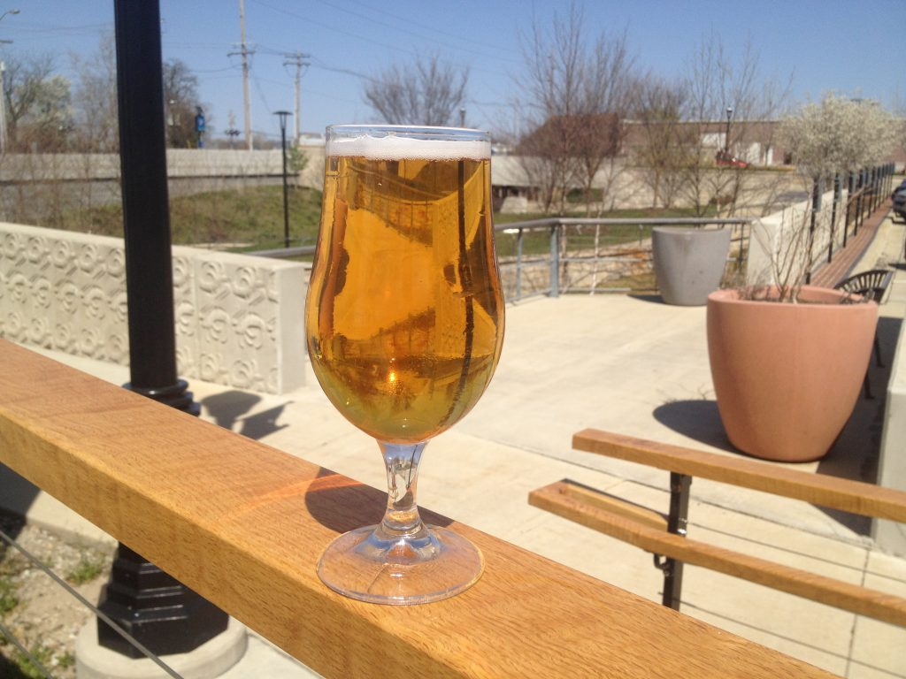 Glass of beer on patio